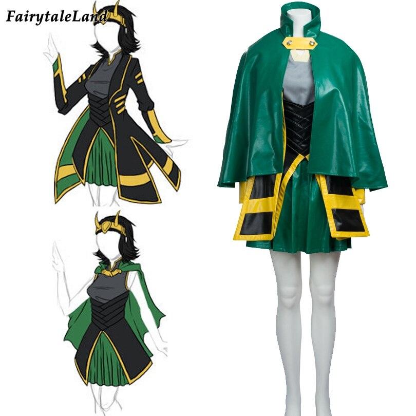 Halloween costumes for adult women Marvel The Avengers Thor female Loki cosplay costume Loki leather dress jacket cloak
