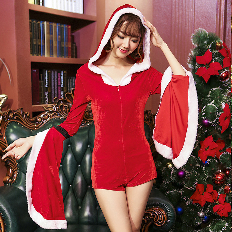 Woman Sexy Christmas Halloween Costumes Santa Claus Cospaly Long Sleeve  Big Flare Sleeves Jumpsuit Deguisement For Carnival