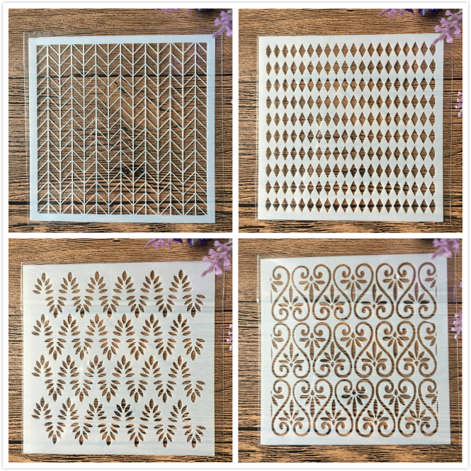 4Pcs/Set 5inch Arrow Wavy DIY Craft Layering Stencils Wall Paint Scrapbook Stamp Embossing Album Decorative Card Template