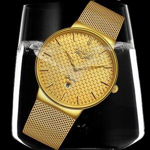 Image 4 - Ligeファッションメンズ腕時計トップブランドの高級超薄型クォーツ時計男性鋼メッシュストラップ防水金時計レロジオmasculino
