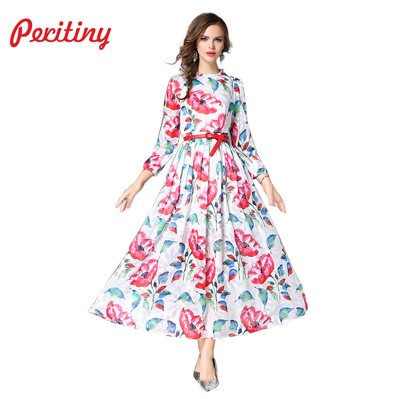 Peritiny Woman Dress Chiffon Maxi Party Dresses Floral Printed Drapped Slim Belt Elegant Ladies Autumn Casual Party Beach Dress