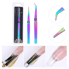 BORN PRETTY Straight Curved Tweezers Colorful Elbow Acrylic Gel Picking Tool Stainless Steel Rhinestones Picker Nail