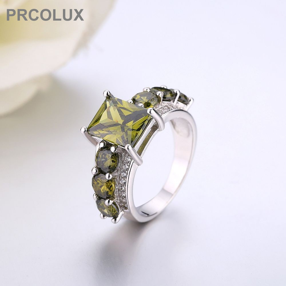 PRCOLUX Fashion Female Geomertr Ring 925 Sterling Silver Green CZ Promise Wedding Engagement Rings For Women Best Gifts QFA62