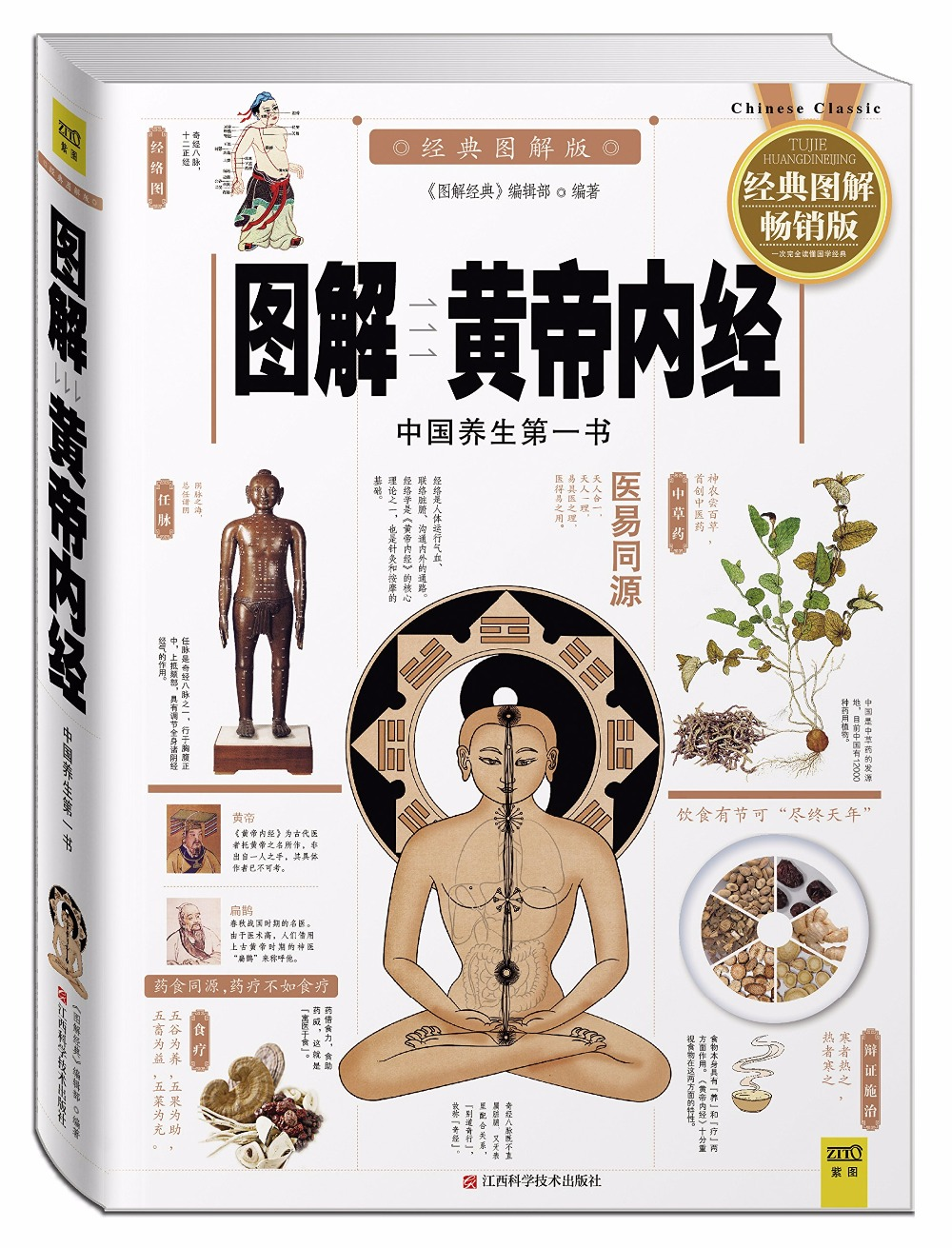 Inner Canon of Huangdi with picture explained, easy to understand , Chinese traditional medicine health classic book sheng nong s herbal classic chinese traditional herbal medicine book with pictures explained learn chinese health food science