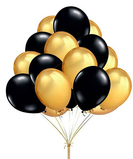 "60 Count 10"" Mixed Gold Black Round Latex Balloons Wedding"