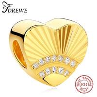 Luxury 100 925 Sterling Silver Gold Color Heart Charm Fit Original Pandora Bracelet Necklace For Women