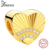FOREWE Luxury 100 925 Sterling Silver Gold Color Heart Charm Fit Original Bracelet Necklace For Women