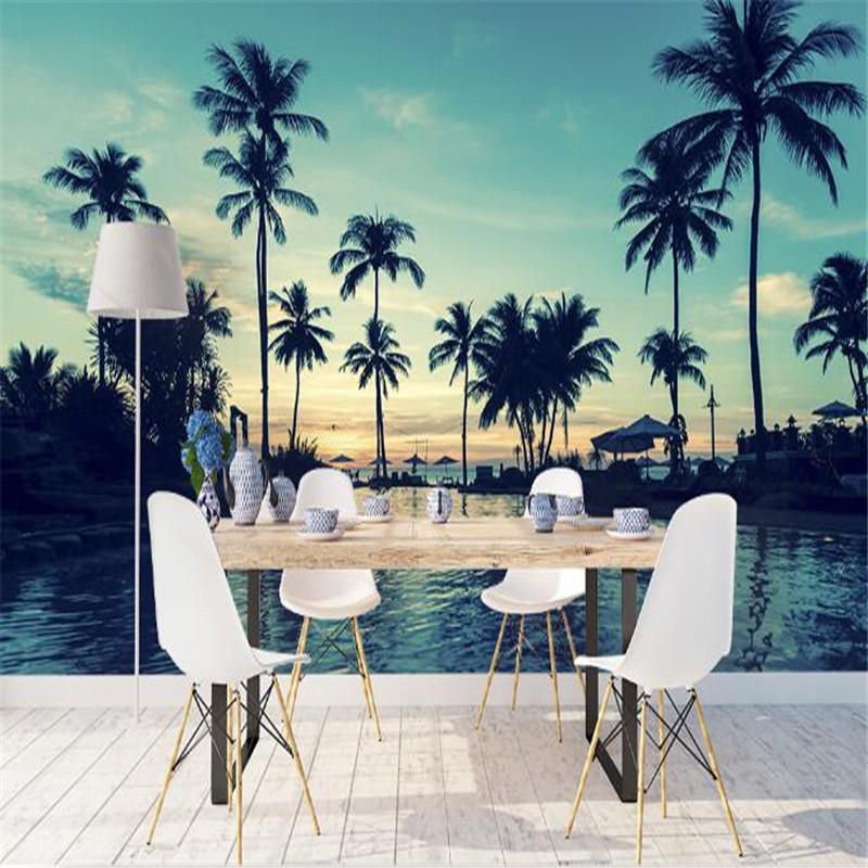 Blue Custom Mural 3D Palm Tree Wallpaper for Walls 3D Tropical Landscape Sea View Wall Covering Living Room Home Decor Natural landscape wall mural wall covering murals for living room tv backsplash wall art decor wallpaper for walls 3 d roll