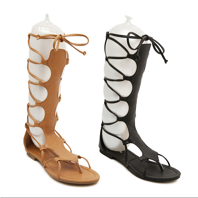 6b0f2ca23 Nice Pop High Gladiator Sandals Women Summer Boots PU Leather Cut Out Sandals  Black Brown Open Toe Flat Sandals Zapatos Mujer