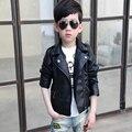 Chaqueta de cuero del muchacho niño niños niño ropa de cuero de la motocicleta chaqueta de la ropa 2016 ropa de otoño grandes de los niños vírgenes