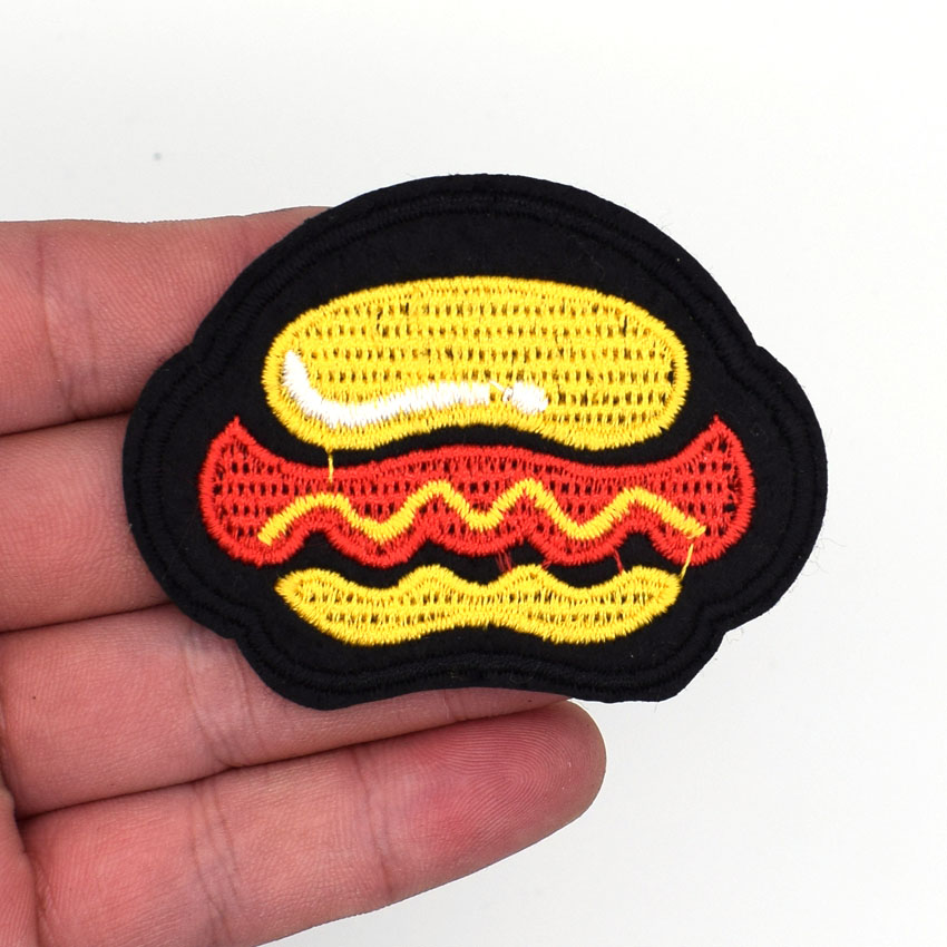 Hamburger fast food patch cartoon chidren kids Embroidren Iron On Patch Clothes Bag T-Shirt Jeans Biker Badge Applique