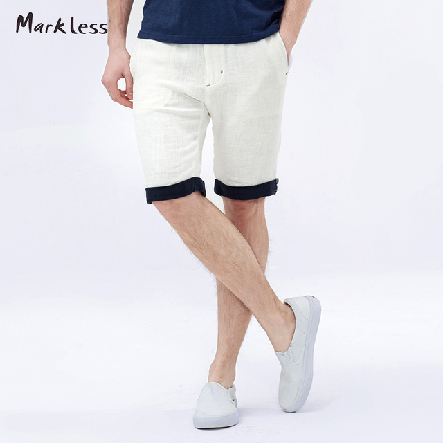 Markless Summer Thin Linen Men's Shorts Fluid Male Loose Casual Beach Man Outside Shorts Two Colors Optional Free Shipping