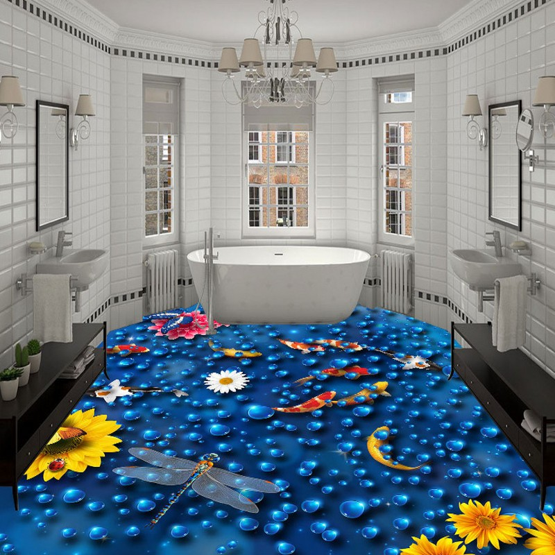 Free Shipping 3D Carp floats water flooring PVC self-adhesive waterproof home decoration bathroom living room wallpaper mural free shipping waterfall hawthorn carp 3d outdoor flooring non slip shopping mall living room bathroom lobby flooring mural