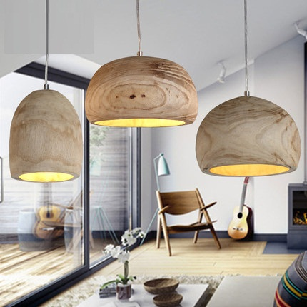 IWHD Simple Wood Droplight Modern LED Pendant Light Fixtures For Dining Room Hanging Lamp Indoor Lighting
