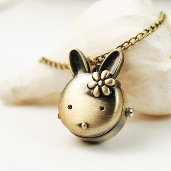 Drop Shipping Retro Bronze Quartz Pocket Watch Rabbit Pendant Necklace Watches Women Men Children Gift Steampunk Jewelry