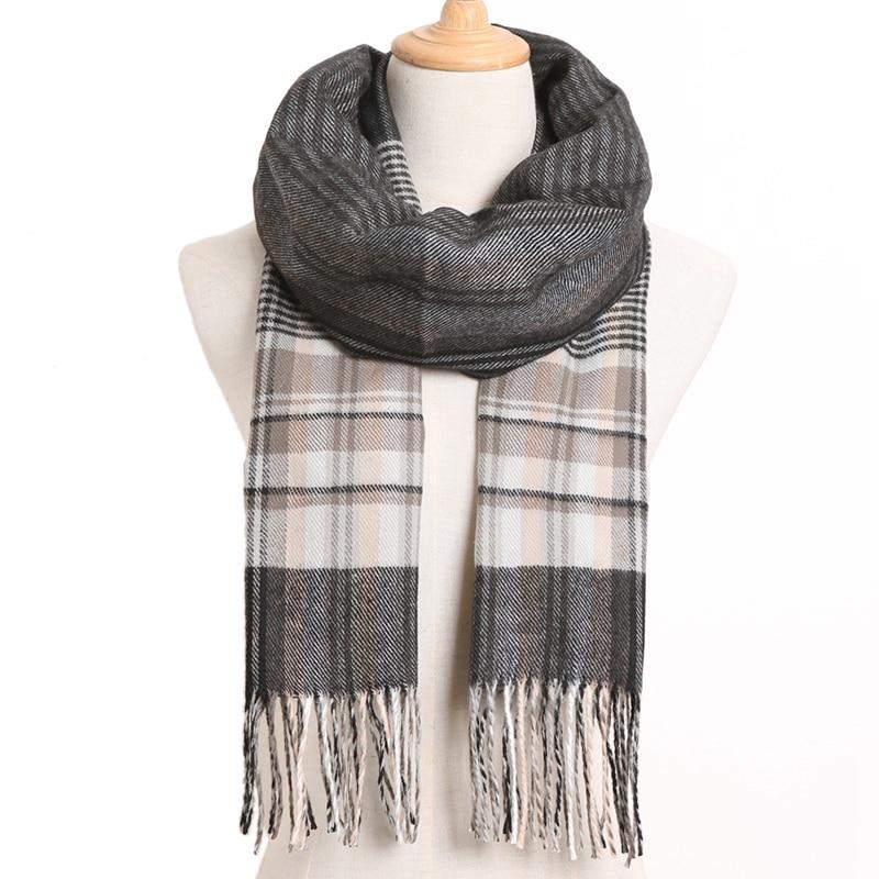 [VIANOSI] клетчатый зимний шарф женский тёплый платок одноцветные шарфы модные шарфы на каждый день кашемировые шарфы - Цвет: 49