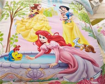 Literie Princesse Taille Réelle | Haute Qualité 1000TC Coton Princesse Dessin Animé Imprimé Ensemble De Literie Pour Les Filles Chambre Décor Lit Couverture Double Pleine Reine Taille Couvre-lit