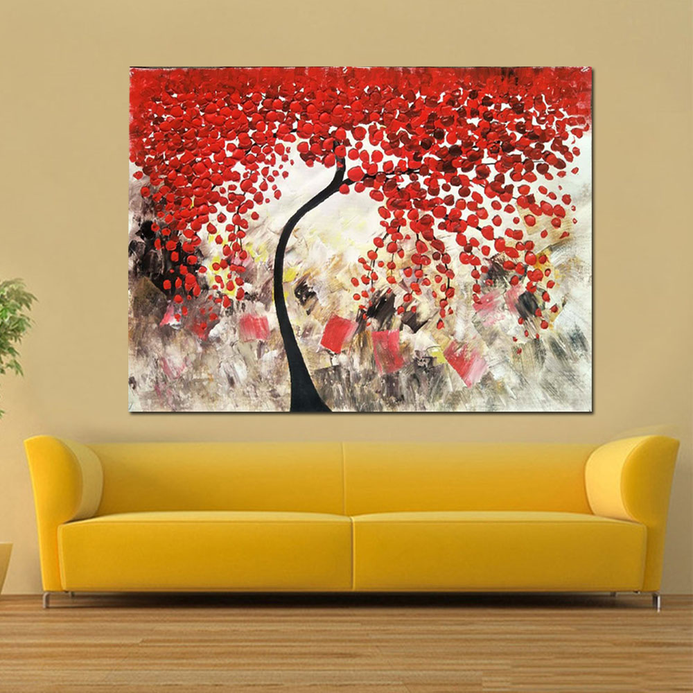 Hand Painted Abstract Red Flower Tree Canvas Oil Painting Thick ...