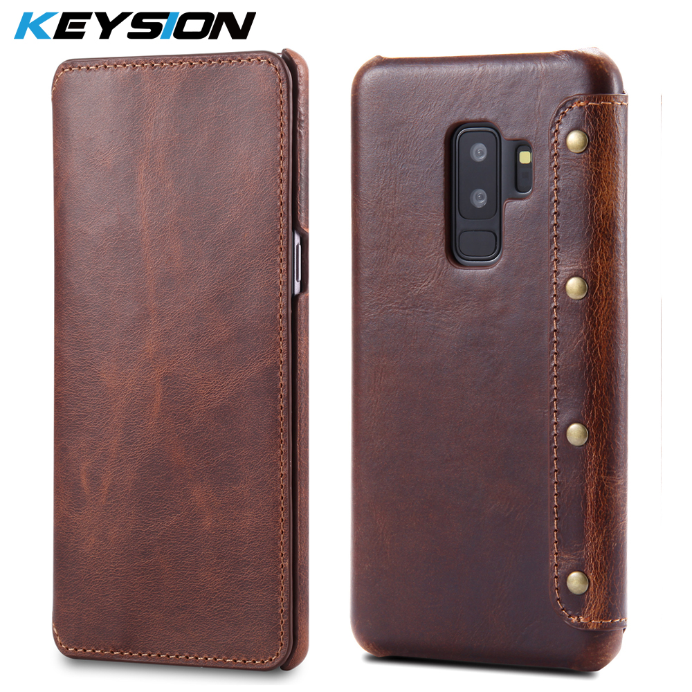 KEYSION Case For Samsung Galaxy S9 S9+ S9 Plus Genuine Real Leather Wallet Full-Body Protective Cover Shell Skin For G960 G965KEYSION Case For Samsung Galaxy S9 S9+ S9 Plus Genuine Real Leather Wallet Full-Body Protective Cover Shell Skin For G960 G965