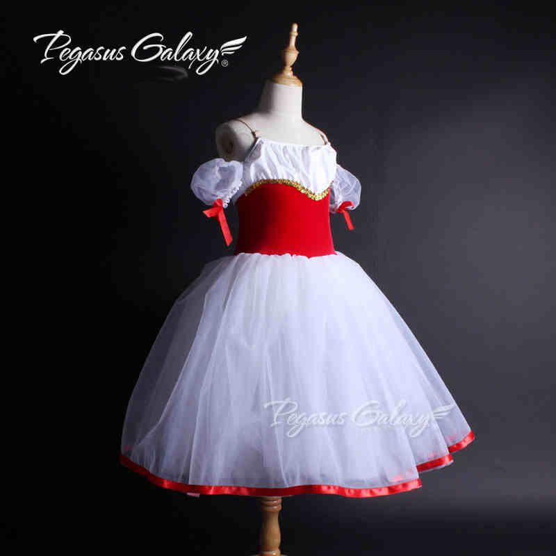 80-180cm Girls & Women Red Ballet Dancewear Kids Classical Long Ballet Tutu Dress Adults Performance Costume Dance Leotard Child