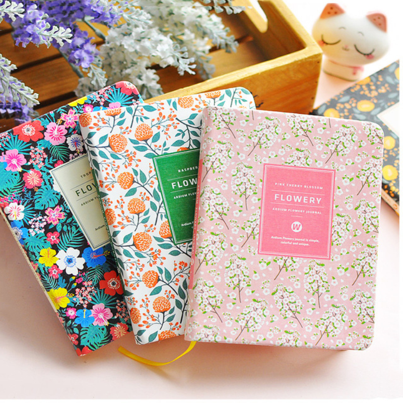 New Arrival Cute PU Leather Floral Flower Schedule Book Diary Weekly Planner Notebook