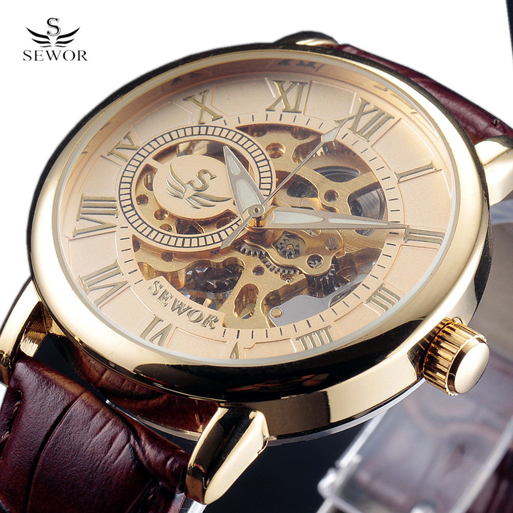 SEWOR Luxury Brand Men Watch 3D Logo Gold Skeleton Casual Watches Mechanical Hand Wind Wrist watches Man's clock Reloj Hombre ks black skeleton gun tone roman hollow mechanical pocket watch men vintage hand wind clock fobs watches long chain gift ksp069