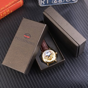 Image 5 - Forsining Luxury White Gold Display Brown Leather Moonphase Fashion Blue Hand Skeleton Waterproof Men Automatic Mechanical Watch