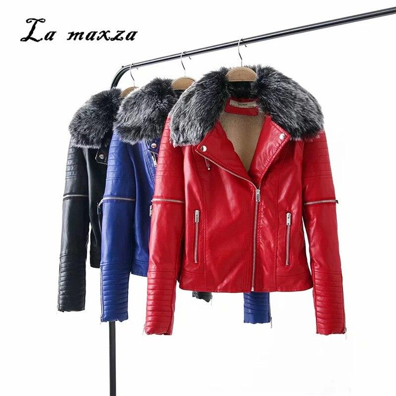 Streetwear De Pu Parkas Rojo Cuero Moto Y Azul Negro Las Cálido 4nxZfTqwSp