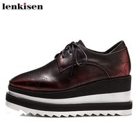 Lenkisen star print vintage full grain leather square toe lace up high preppy style platform party women vulcanized shoes L33