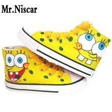SpongeBob SquarePants Cartoon Style High Lace-Up Women's Flats Men Women Hand Painted Canvas Shoes Man Woman Breathable Shoes