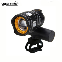 Zoomable Bicycle Front Headlight XM-L T6 LED 15000LM Bike Light Lamp USB Rechargeable Built-in Battery 3 Modes Torch