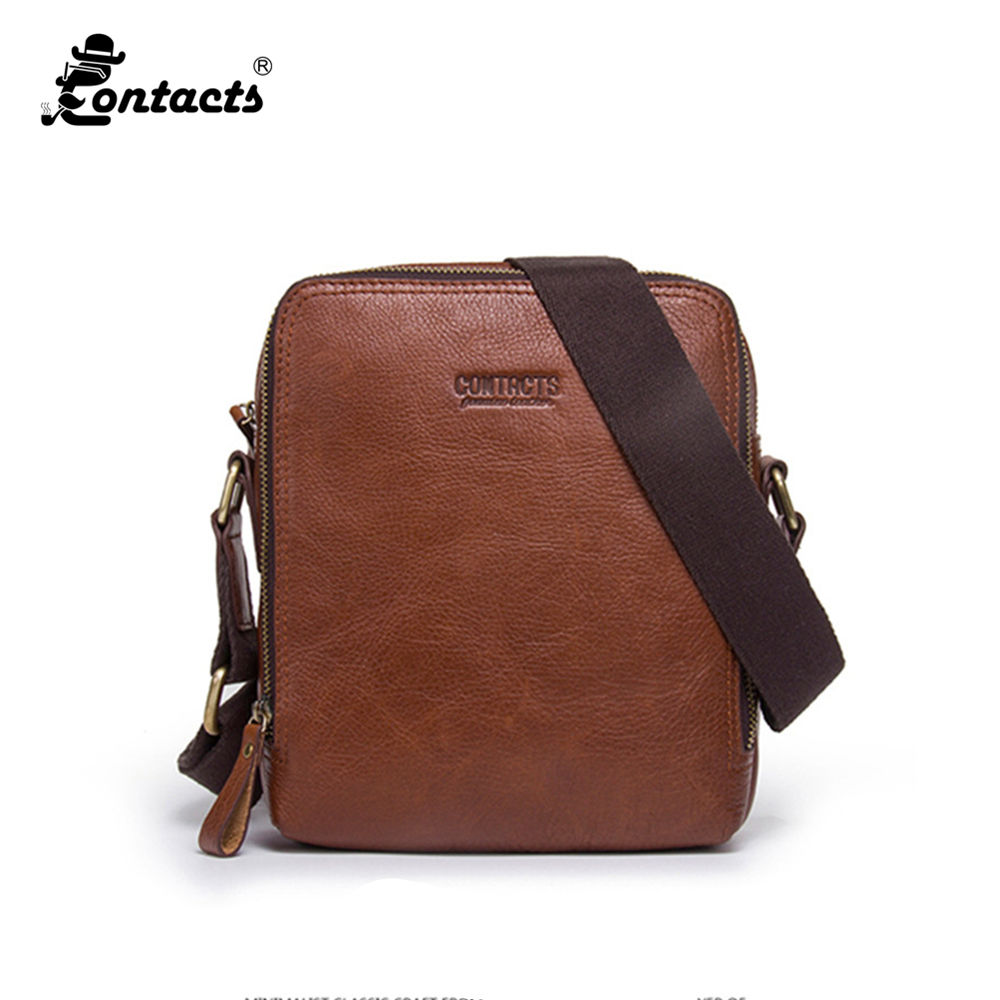 CONTACTS MB083 Shoulder Bag Fashion Men's bags Real Leather Handbag Computer Laptop Bag Leather briefcase Casual Briefcase