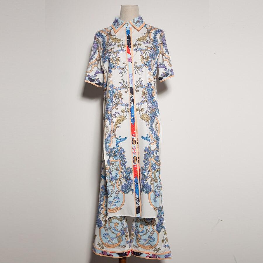 Aeleseen Pantalon longueur 2019 Set Longue Veau Imprimer Vintage Ethnique Femmes Pièce 2 Fahsion Costume Chemise Manches Flare Courtes D'été rBwSr