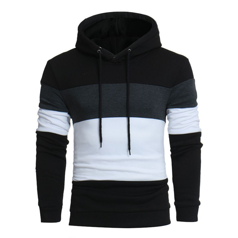 Mens Casual Hedging Stitching Color pullover Hoodie men's fashion hoodies cotton for men long sleeve hooded 2 colour