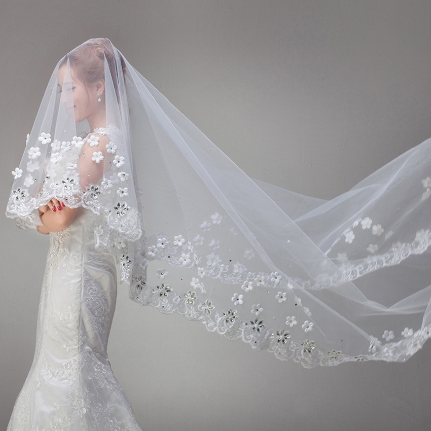White Vintage Cheap Tulle Bride Cathedral Long Bridal Lace