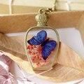 New Arrivals moda medalhão de vidro pingente colares garrafa romântico rosa Real flor seca vidro borboleta colar para as mulheres