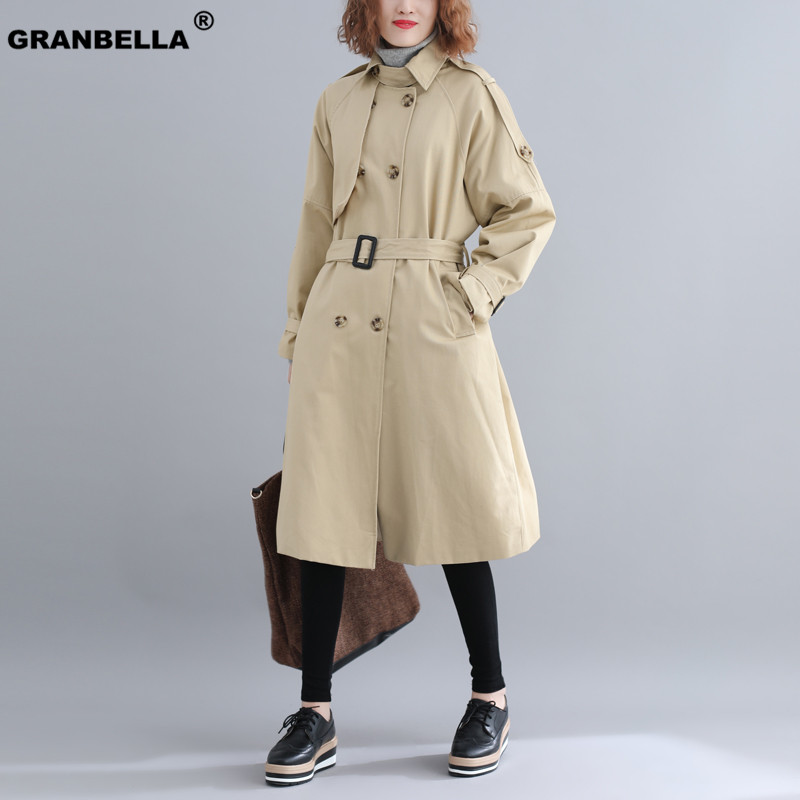 Famous Popular Russian style Top quality women double breasted   Trench   coats classic belted overcoats outerwear