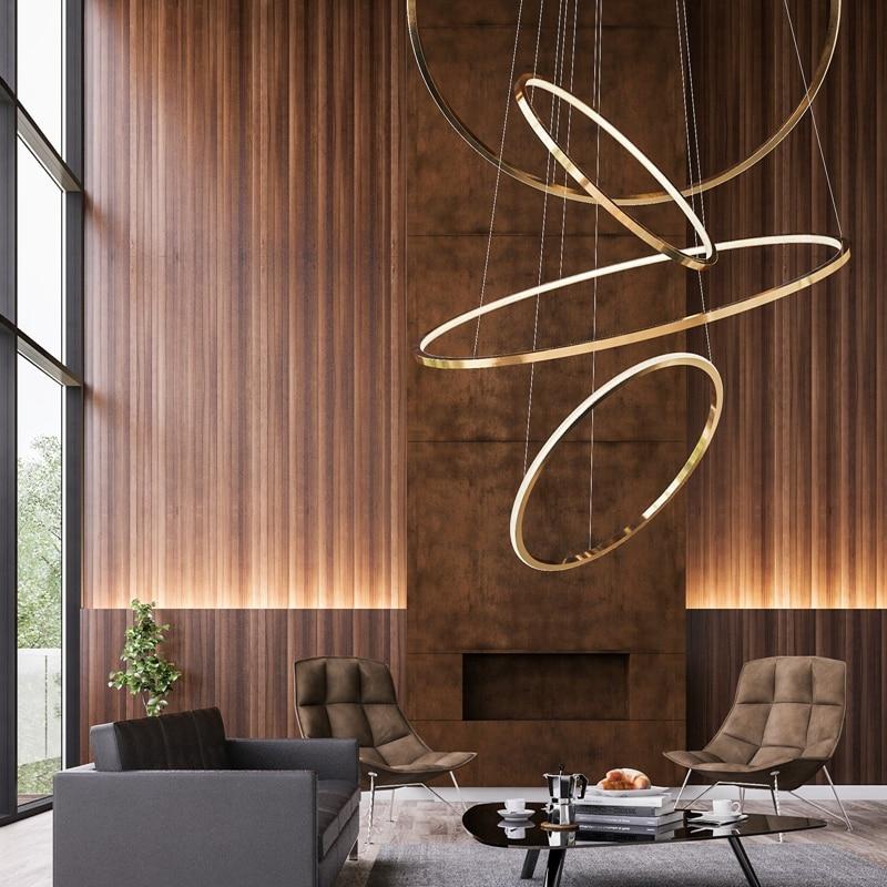 Modern Design Gold Housing Minimalist Round Pendant Light Designer Hanging Light Suspension Gold Circle Ring Lamp Led Villa Home