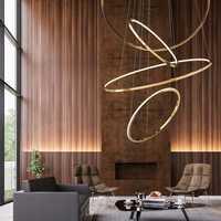 Moderne Design Gold Gehäuse minimalistischen runde anhänger licht designer hängen licht suspension gold kreis ring lampe led villa hause