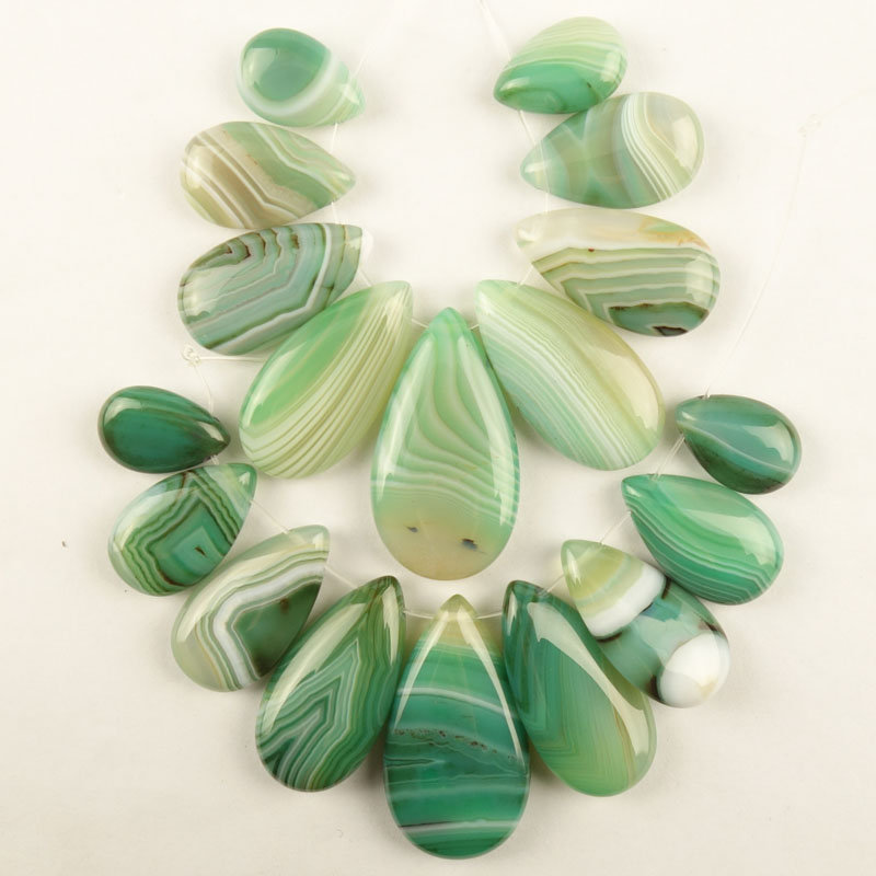 2Set(9Pcs/Set) Green Stripes Onyx Agates Teardrop Pendant Bead (big:37x20x6mm small:17x12x5mm)Free Shipping Dw021