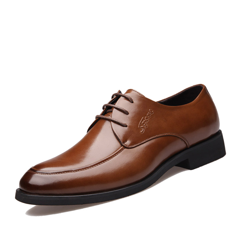 New 2016 Business Dress Shoes Wedding Pointed Toe Fashion Genuine Leather Shoes Flats Oxford Shoes For