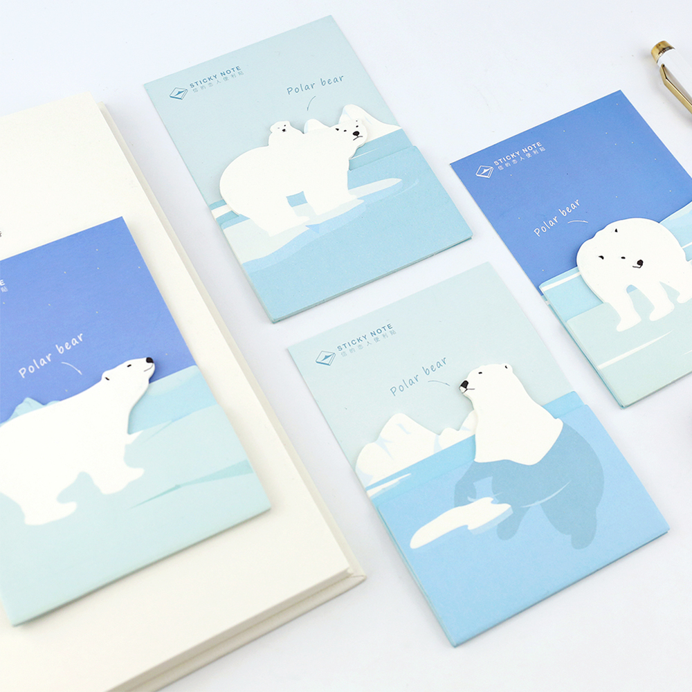 4 Pcs Polar Bear Sticky Note Cute Label Message Memo Pad Diary Stickers Scrapbooking Office Accessories School Supplies A6155