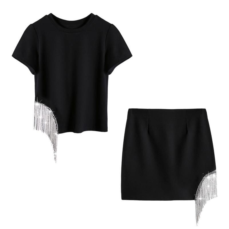 T black Pompon shirt À Taille Pièces Gland white Ensemble Balck Mode Clouté Getsring 2019 Jupe Haute Cloutés Skit Femme Tops 2 white Skirt Femmes De Ensembles Irrégulière Tops q0YxAwBI
