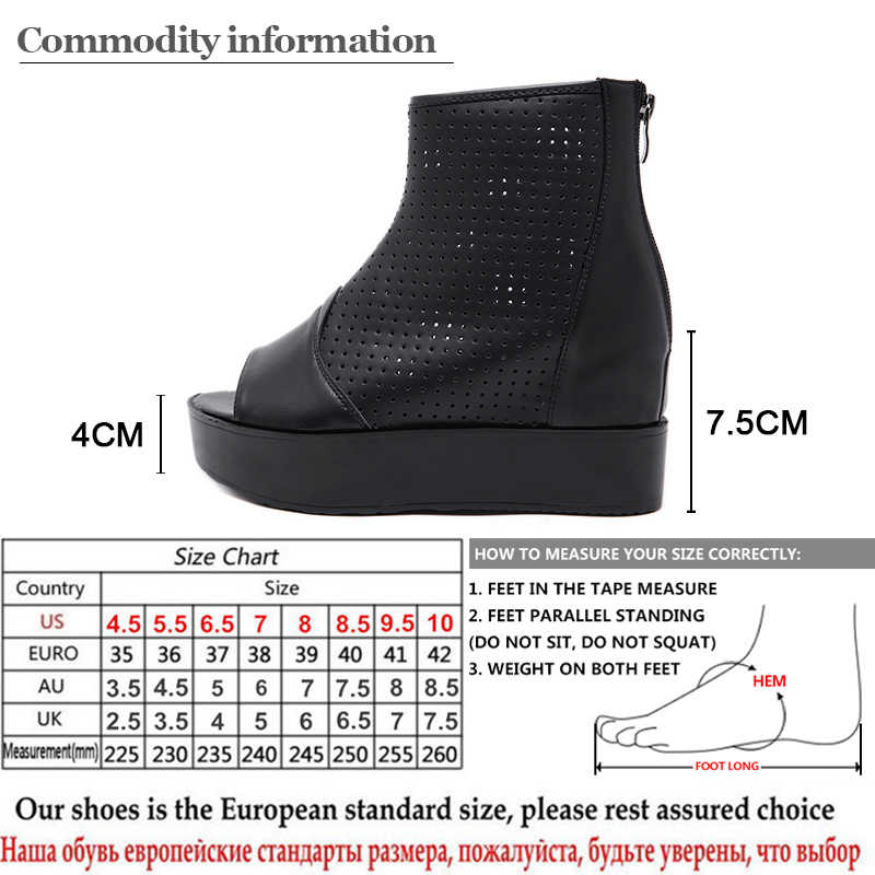 Gdgydh Cut - outs Wedge ส้นสูงรองเท้าฤดูร้อนผู้หญิงความสูงเพิ่มรองเท้าสุภาพสตรีรองเท้าฤดูใบไม้ผลิฤดูใบไม้ร่วงสีดำพร้อมซิป