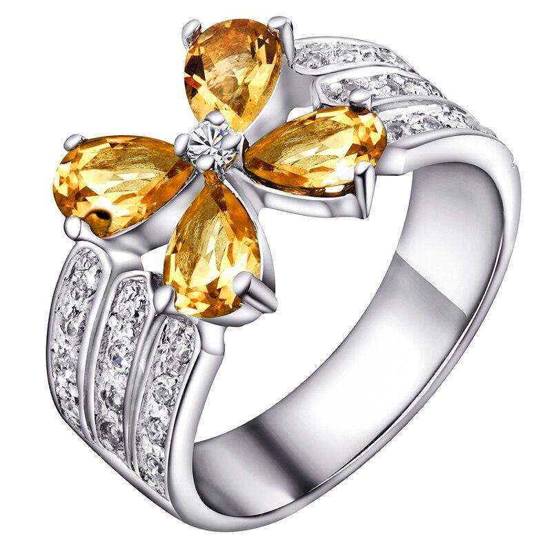Natural Citrine Ring 925 Sterling Silver Yellow Crystal Woman Fashion Fine Elegant Jewelry Clover Girl Birthstone Gift SR0179C все цены
