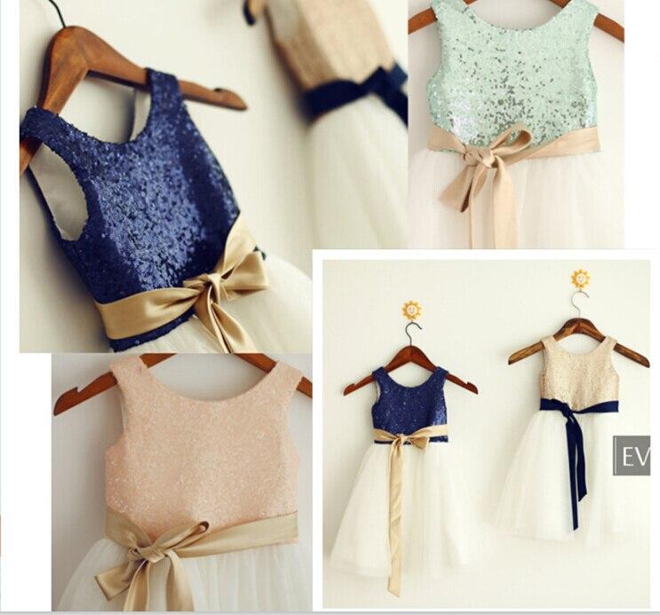 ⑧Imágenes reales encargo sequined 2015 flor Girl vestidos para ...