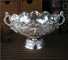 19.5 см классический круглый волна-открытие цветочный резные тиснением сплава металла сиденья лоток закуски вазу с фруктами стол для хранения сахара серебряный поднос