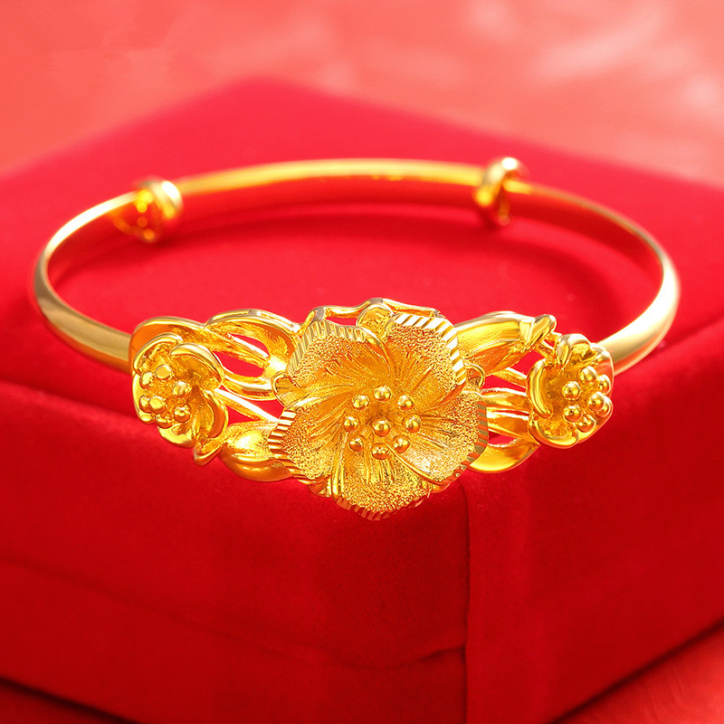 Retro Flower Engraving Jewelry Gold Plated Women Adjustable Bangles Bracelets Bridal Wedding Accessories