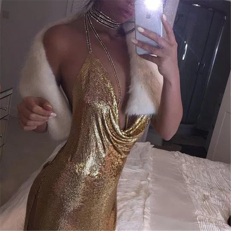 FestivalQueen sexy deep v neck halter split sequined dress women solid backless rhinestone chain party metal