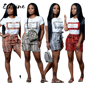 Echoine Women Snakeskin Print 2 Pieces Sets Summer Short Sleeve T Shirt Casual Shorts Red/Orange Tracksuit Outfits S-XXL